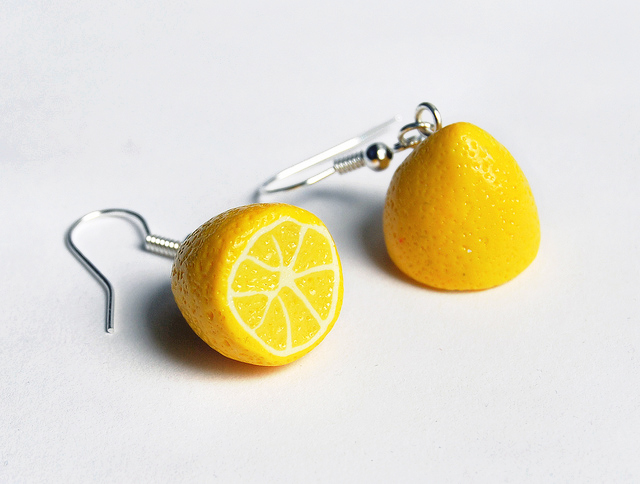 мастер-класс лимон из пластики. сережки из полимерной глины.